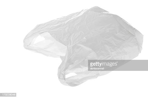 White plastic bag on white background