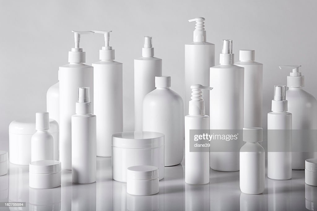 white plastic containers : Stock Photo