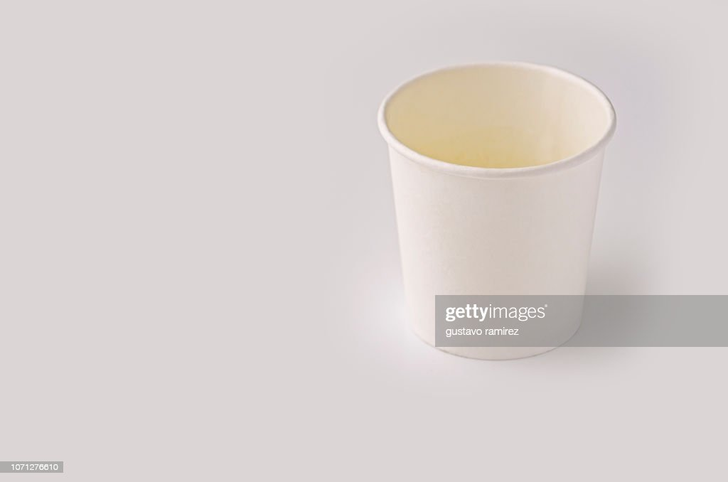 white plastic cup on white background : Stock Photo