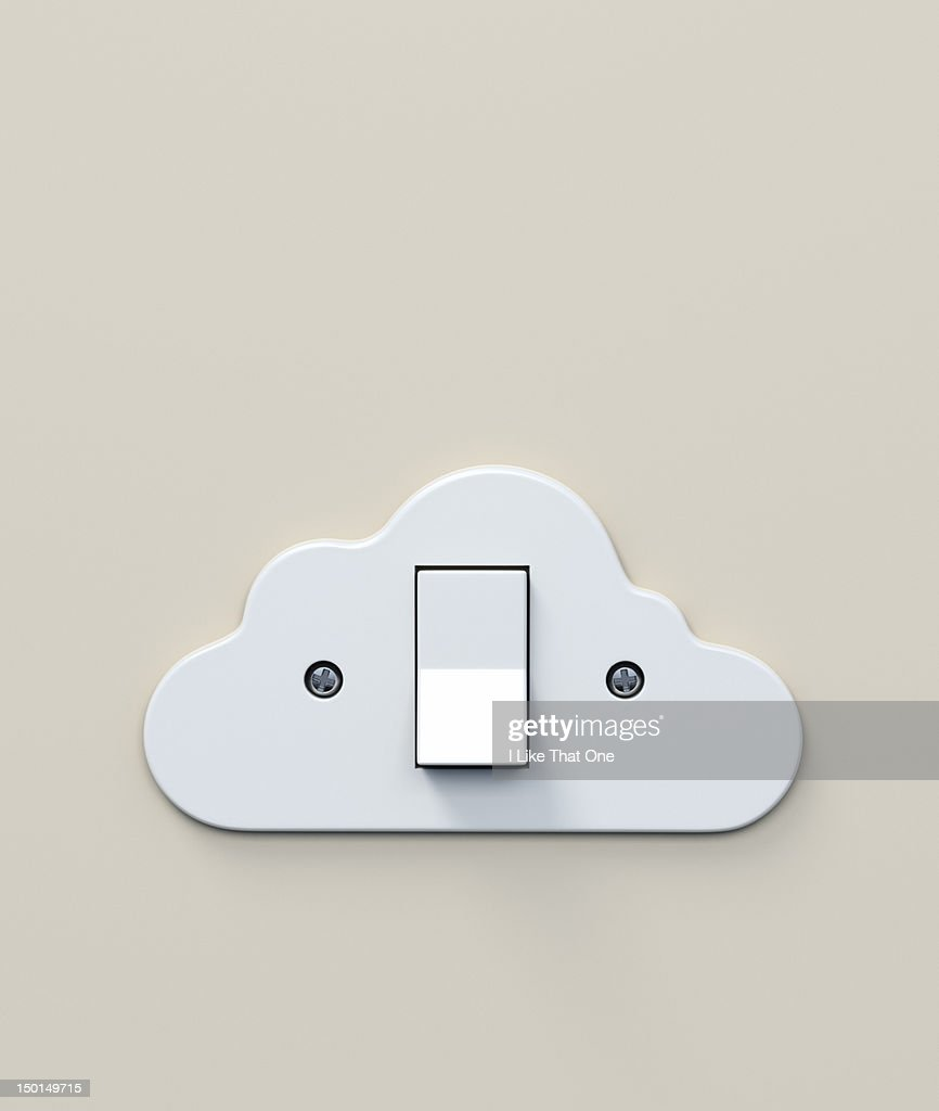 White Plastic Light Switch In The Shape Of A Cloud Stock Photo ...