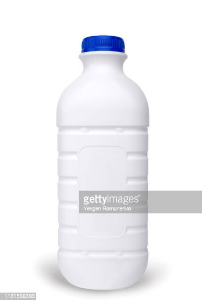 white plastic milk bottle isolated on white background - milk bottle stock pictures, royalty-free photos & images