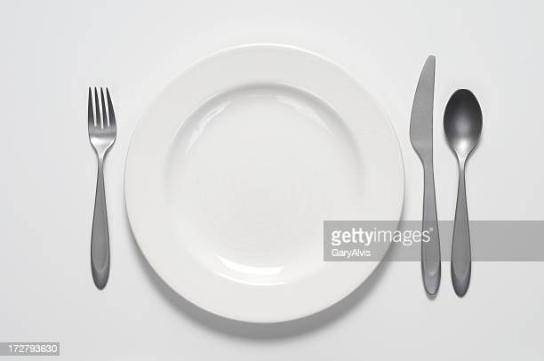 White plate and silverware