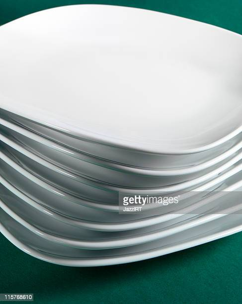 White plate in a stack