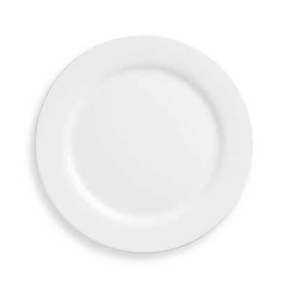 A white plate on a white background 182923318