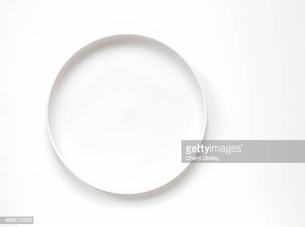 White plate on white background with room for type