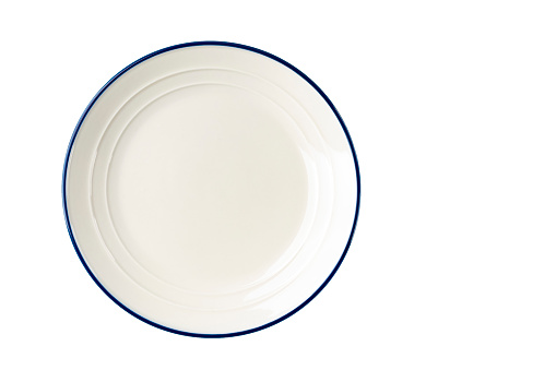 White plate with a blue stripe on the edge. 1138694474