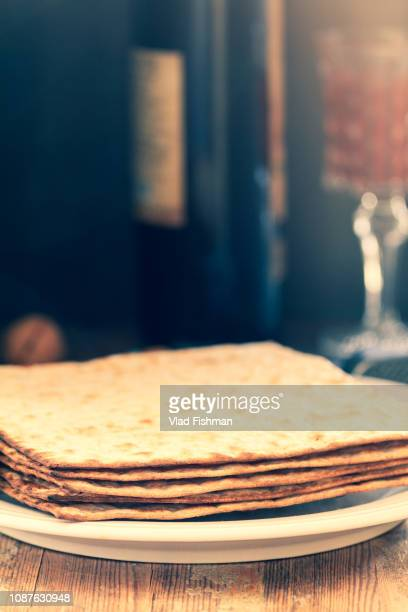White plate with matzah
