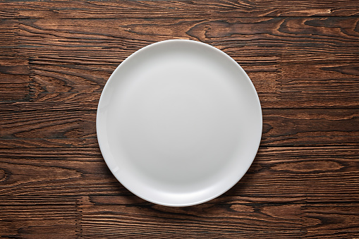 white plate, wooden table, tablecloth, rustic wooden, clean, copy, freepik, table top view, wallpaper, dish, wall mural, silverware, 1170315961