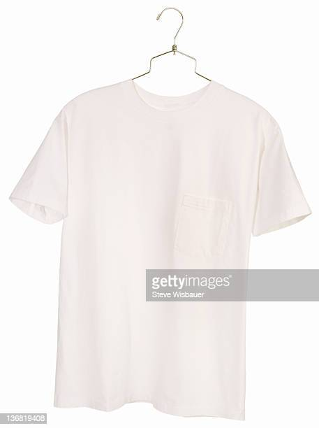 A white pocket T-shirt on a hanger