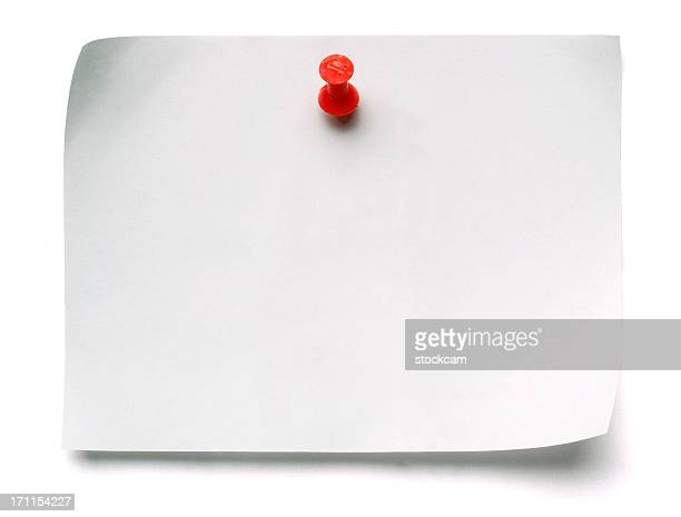 white post-it note with push pin - message stock pictures, royalty-free photos & images
