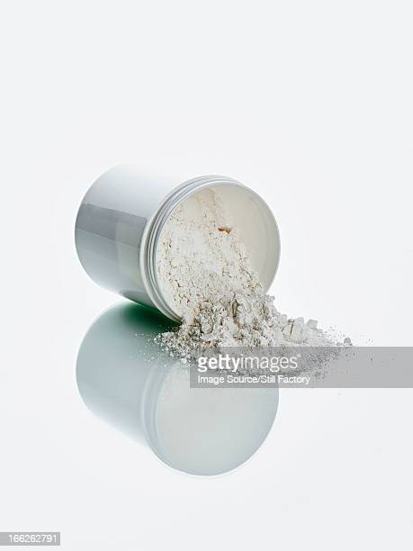 White powder and jar on counter