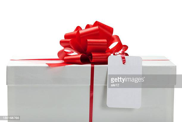 White present with a bow and blank card.