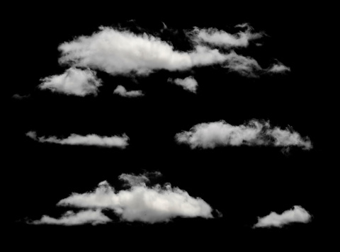 White puffy clouds in a black background 177815888