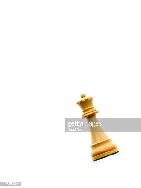 white queen chess piece on white background - chess piece stock pictures, royalty-free photos & images