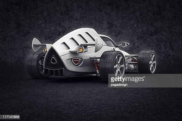 white racecar - hot rod car stock photos and pictures