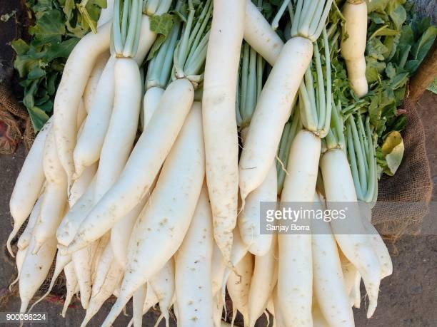 white radish for sale at farmer's market in india - dikon radish stock photos and pictures