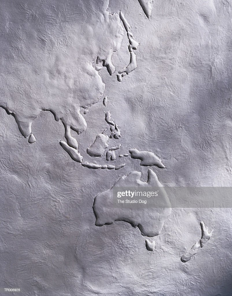 White Relief Map of Southeast Asia and Australia : Stock Photo