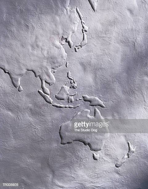 White Relief Map of Southeast Asia and Australia