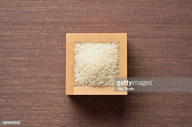 White rice?in wood box