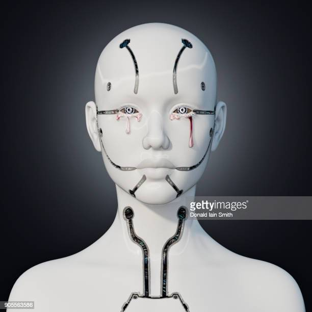 White robot crying