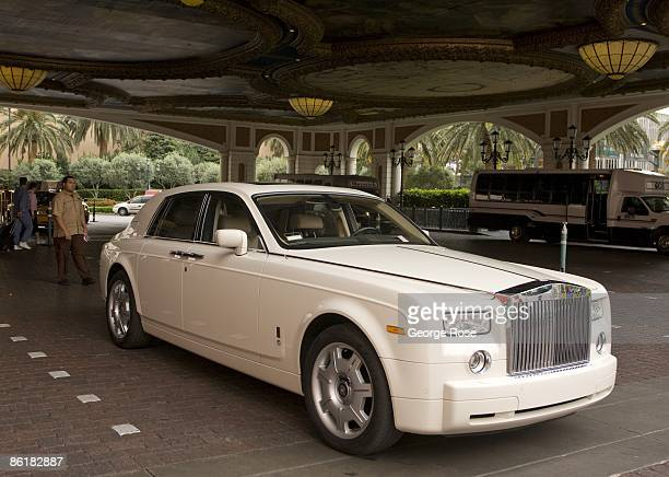 A white Rolls Royce is parked in valet area of the Venetian Hotel located on the famed Las Vegas Strip as viewed in this 2009 Las Vegas Nevada...