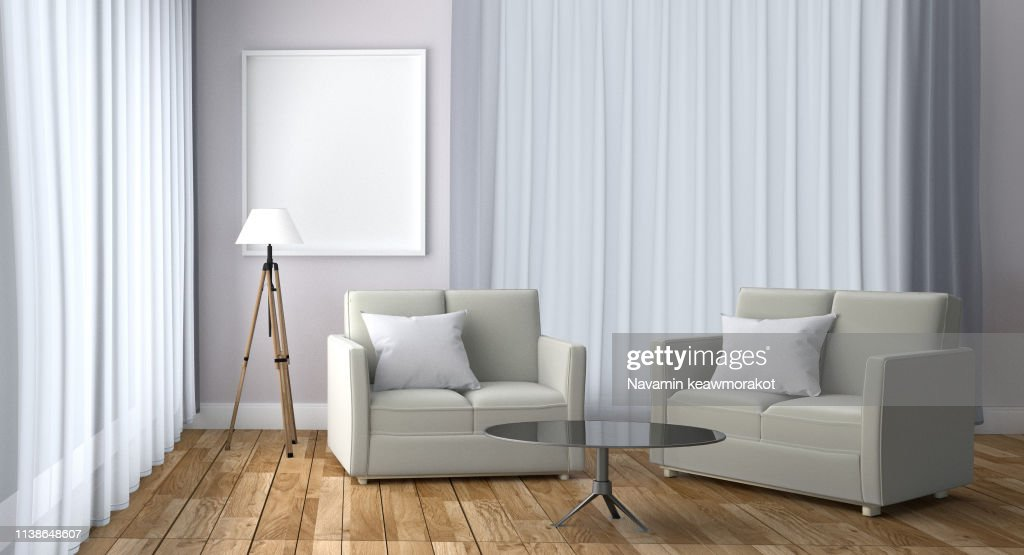 White Room Interior Scandinavian Style - Modern room with sofa lamp pillow plants and frame, wooden floor and window on white wall background. 3D rendering : Stock Photo