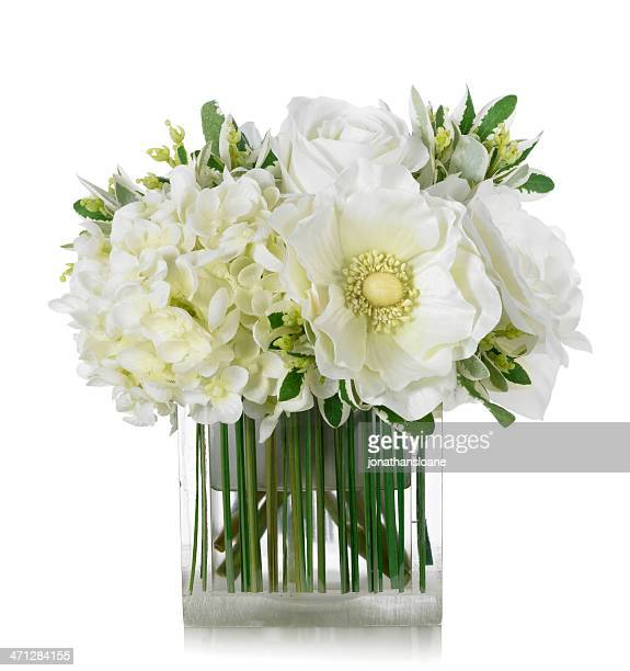 white rose, hydrangea and anemone bouquet on white background - vase stock pictures, royalty-free photos & images