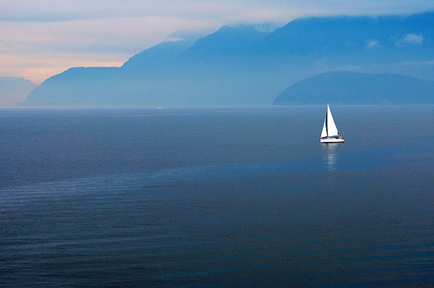 White Sailboat  Blue Waters