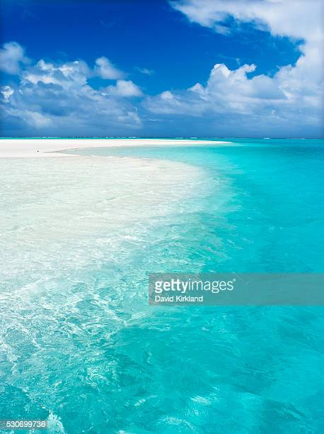 White sand beach and turquoise water; Barefoot Island, Aitutaki, Cook Islands