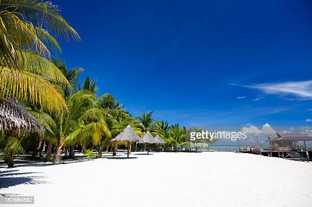 White sand beach on Mabul island, Sipadan, Borneo Malaysia