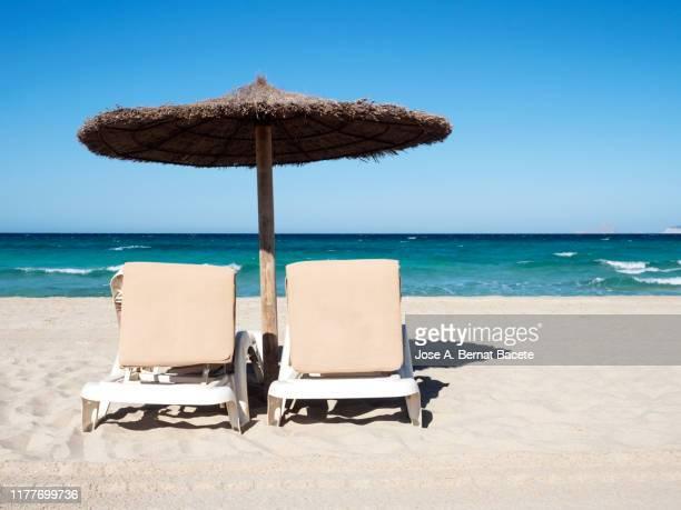 white sand beach with  beach umbrellas & sun loungers  against clear blue sky in formentera island, spain. - アウトドアチェア ストックフォトと画像