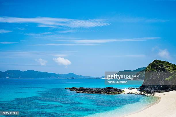 White sand blue sea and beach