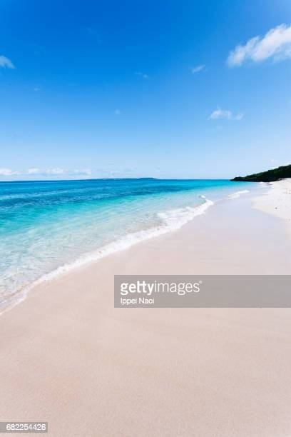 White sand tropical beach of Okinawa with copy space