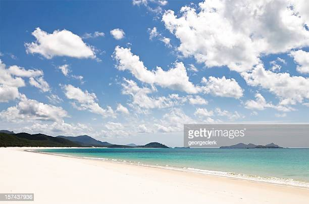 white sands of whitehaven beach - whitehaven beach stock photos and pictures