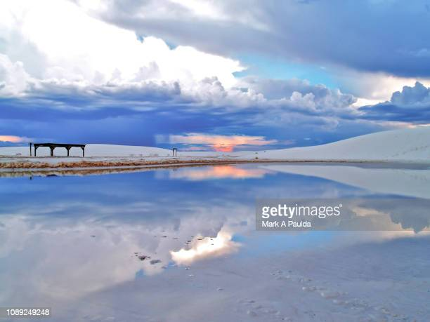 white sands storm reflection - chihuahua desert stock pictures, royalty-free photos & images