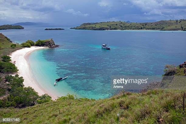 White sandy beach on the island Komodo in the Komodo National Park Indonesia