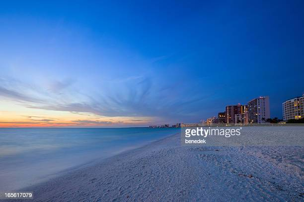 White Sandy Beach Resort at Sunset