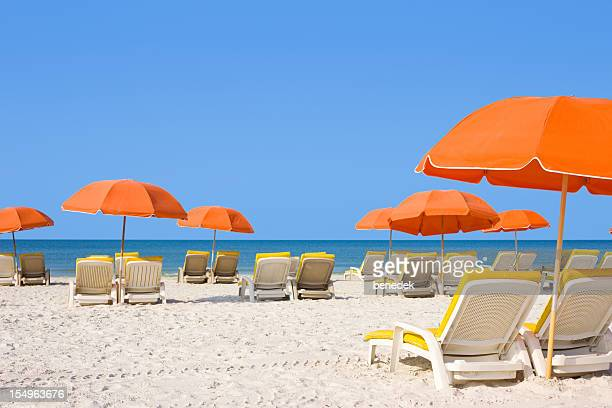 white sandy beach with loungers and umbrellas - parasol stock pictures, royalty-free photos & images
