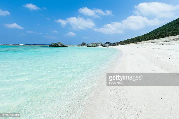 White sandy tropical beach and clear sea, Okinawa