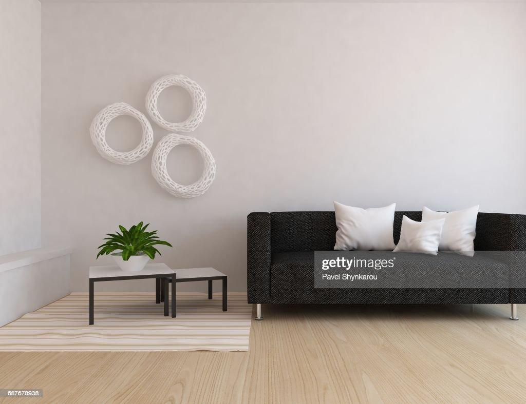 White Scandinavian Room Interior With Furniture : Stock Photo