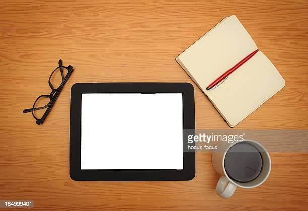 White screen digital tablet on businessdesk