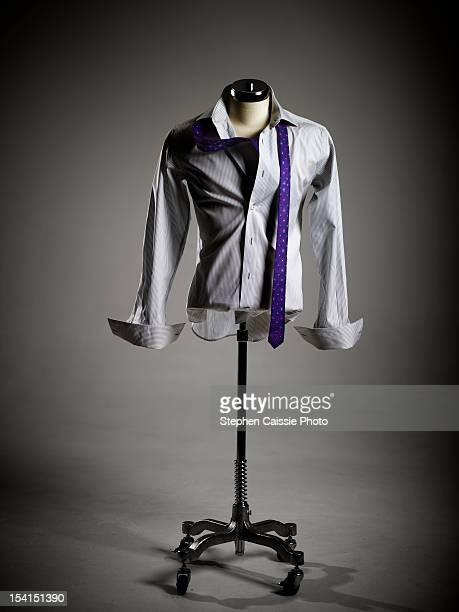 White shirt and purple tie