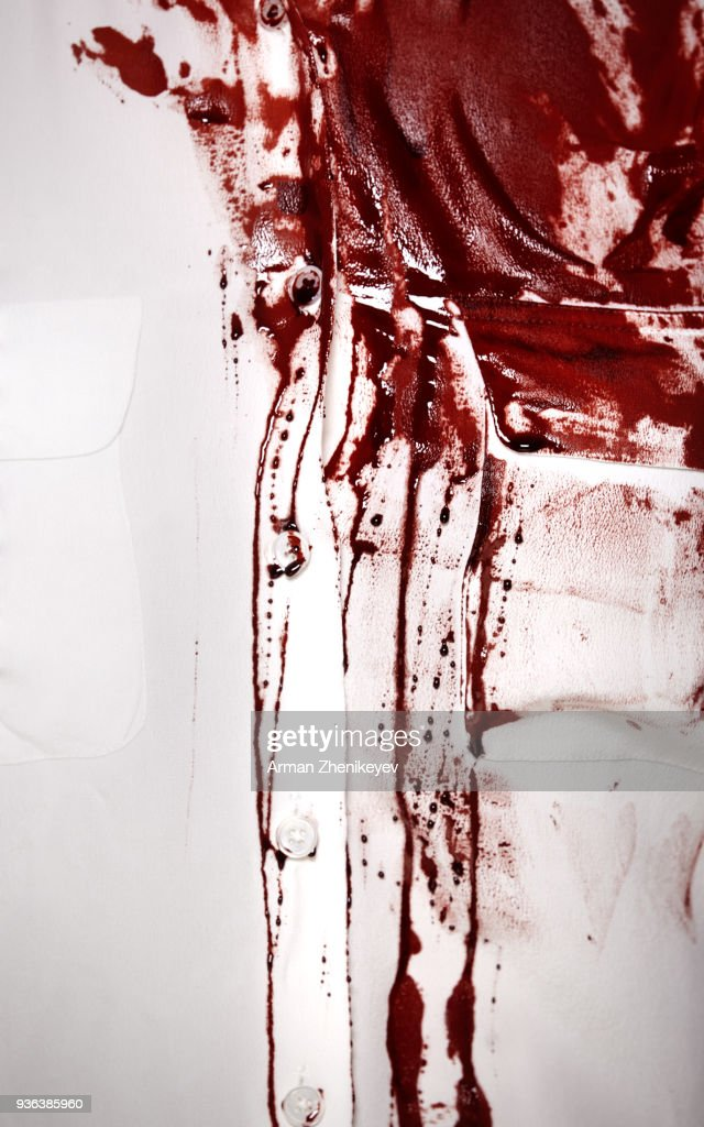 White shirt sopping with blood : Stock Photo