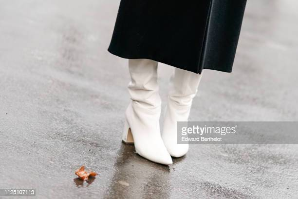 White shoes outside Alexandre Vauthier during Paris Fashion Week Haute Couture Spring Summer 2020 on January 22 2019 in Paris France