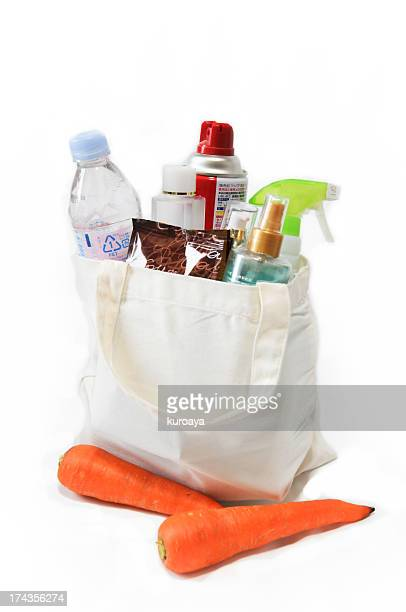 White shopping bag with commodities
