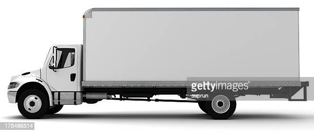 3d white side view of a delivery truck - van de zijkant stockfoto's en -beelden