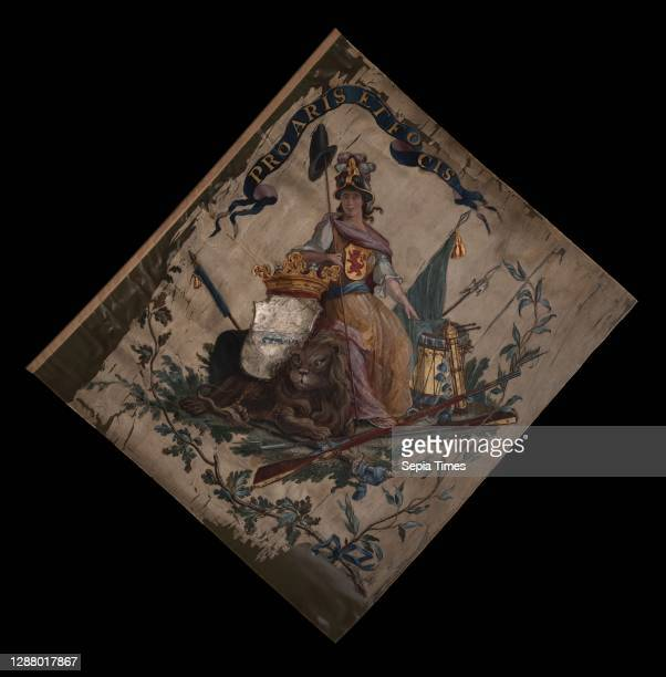 White silk banner of the Armed Guard of the craft Cool, painted, Pro Aris Et Focis, in 1785, standard information form silk paint, textile painted...