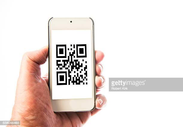 White Smart Phone with QR Code