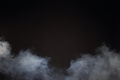 White Smoke and Fog on Black Background, Abstract Smoke Clouds 673761120