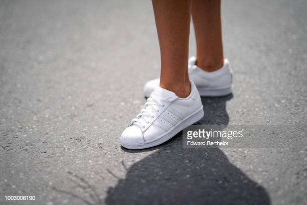 White sneakers from Adidas are seen during Feeric Fashion Week 2018 on July 20 2018 in Sibiu Romania
